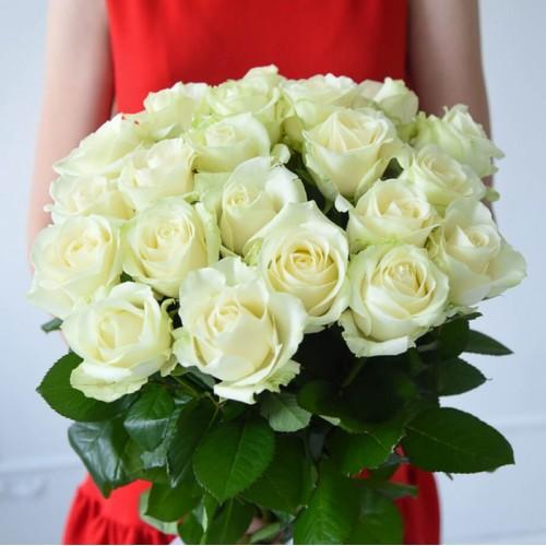 21 белая роза 80 см