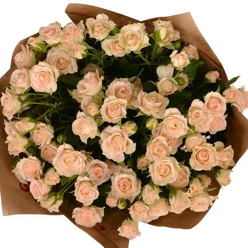11 веток кустовой кремовой розы