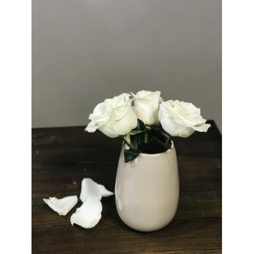 Керамическая ваза Stone Flower 20см кофе с молоком